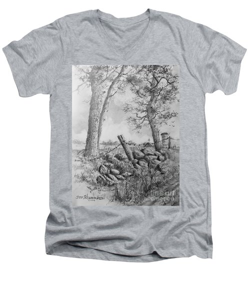 Men's V-Neck T-Shirt featuring the drawing Road Home by Jim Hubbard