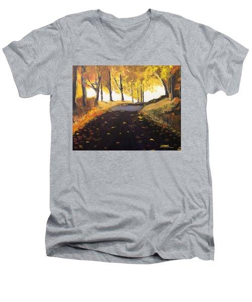 Road In Autumn Men's V-Neck T-Shirt