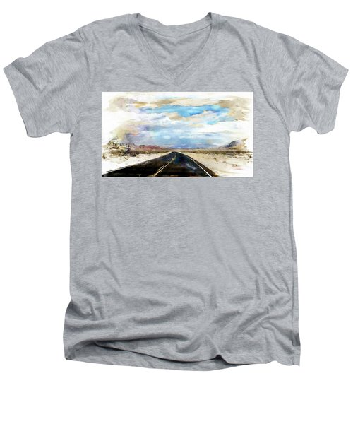 Men's V-Neck T-Shirt featuring the digital art Road In The Desert by Robert Smith