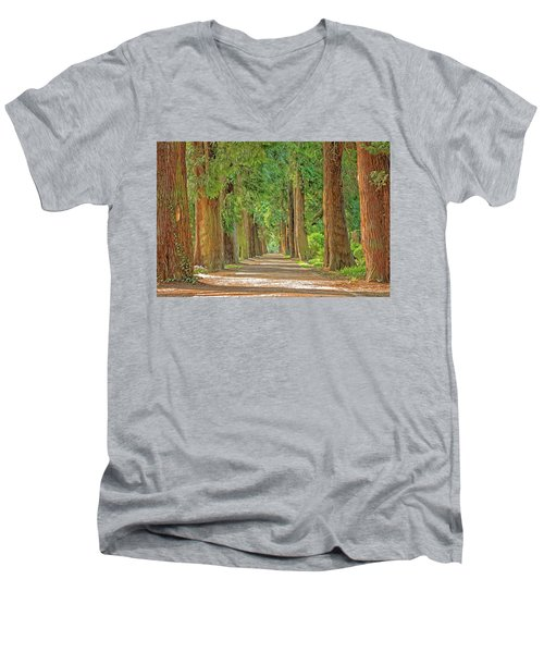 Men's V-Neck T-Shirt featuring the painting Road Less Traveled by Harry Warrick