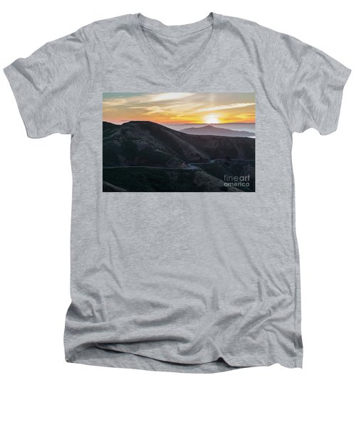 Road On The Edge Of The Mountain With Sunrise In The Background Men's V-Neck T-Shirt