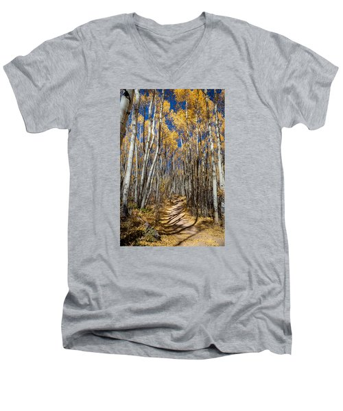 Road Through Aspens Men's V-Neck T-Shirt