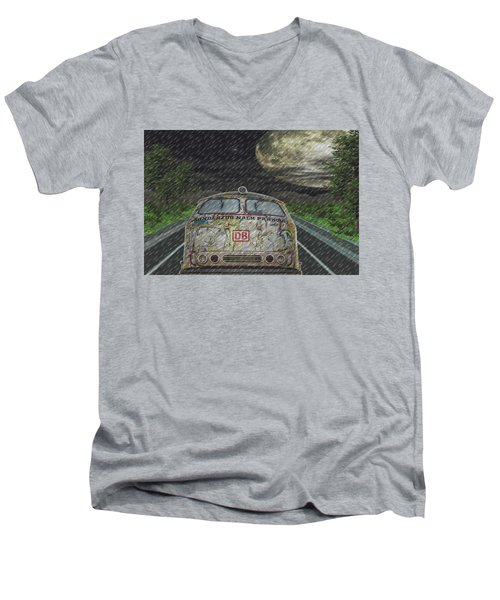 Men's V-Neck T-Shirt featuring the digital art Road Trip In The Rain by Angela Hobbs