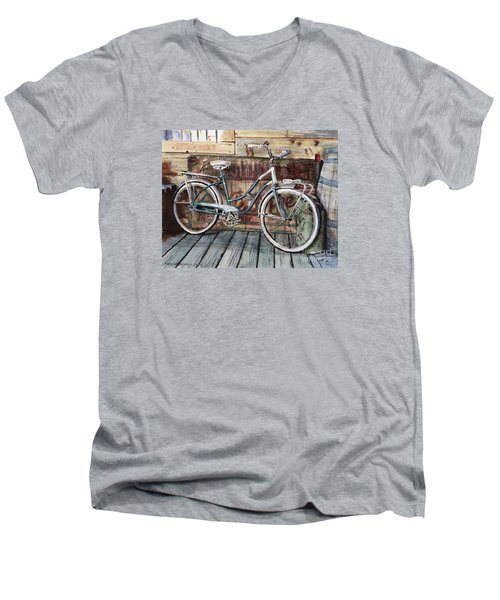 Roadmaster Bicycle Men's V-Neck T-Shirt by Joey Agbayani