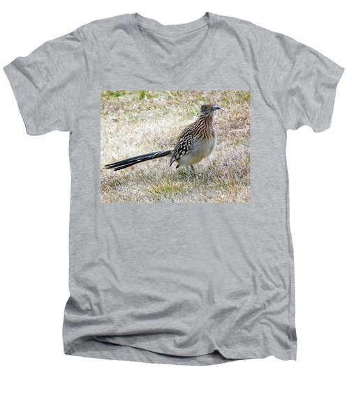 Men's V-Neck T-Shirt featuring the photograph Roadrunner New Mexico by Joseph Frank Baraba