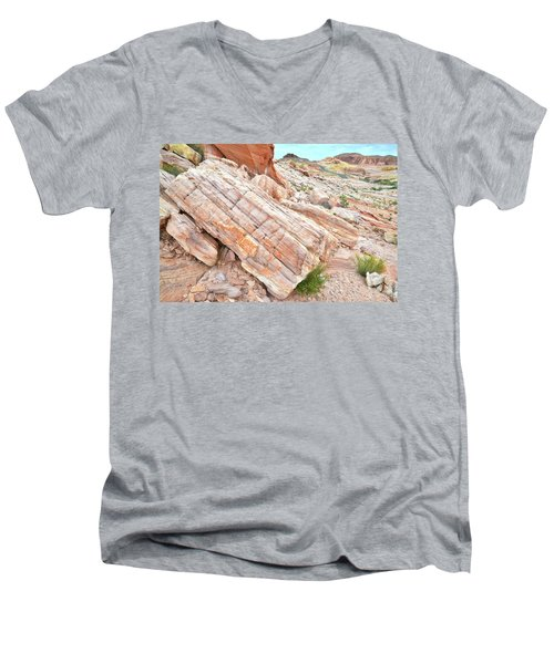 Men's V-Neck T-Shirt featuring the photograph Roadside Sandstone In Valley Of Fire by Ray Mathis