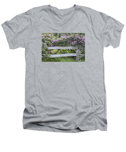 Men's V-Neck T-Shirt featuring the photograph Roan Mountain Azaleas by Tyson and Kathy Smith