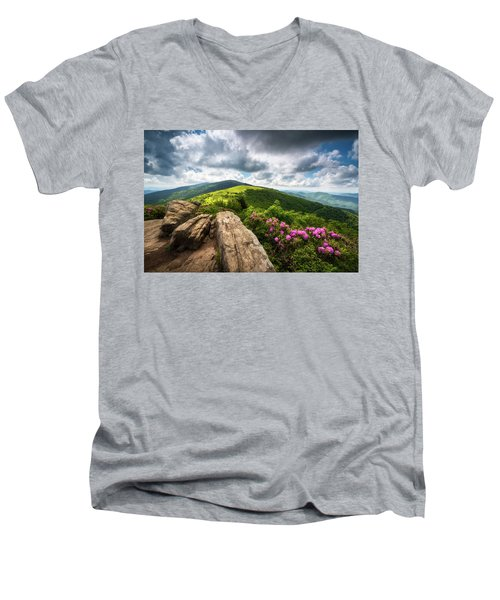 Roan Mountain Radiance Appalachian Trail Nc Tn Mountains Men's V-Neck T-Shirt