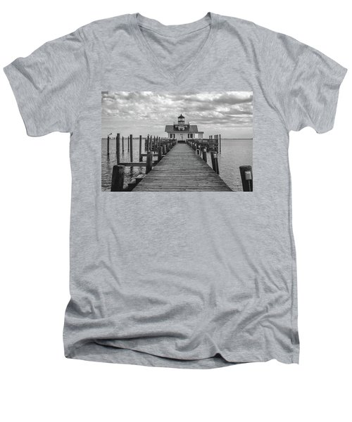 Roanoke Marshes Light Men's V-Neck T-Shirt by David Sutton