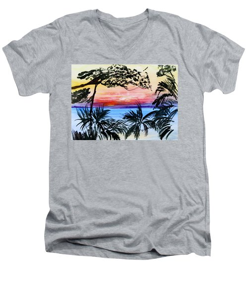 Roatan Sunset Men's V-Neck T-Shirt