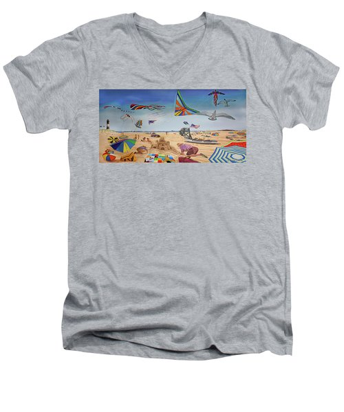 Robert Moses Beach Towel Version Men's V-Neck T-Shirt