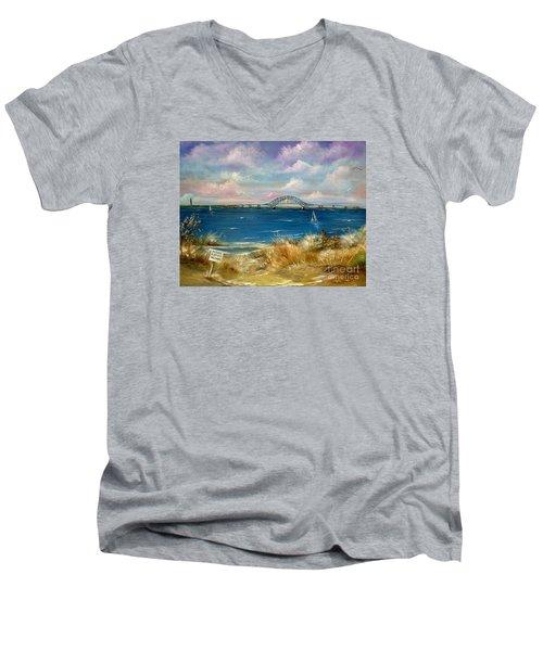 Robert Moses Bridge Men's V-Neck T-Shirt by Patrice Torrillo