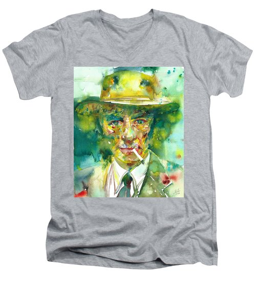 Men's V-Neck T-Shirt featuring the painting Robert Oppenheimer - Watercolor Portrait.2 by Fabrizio Cassetta