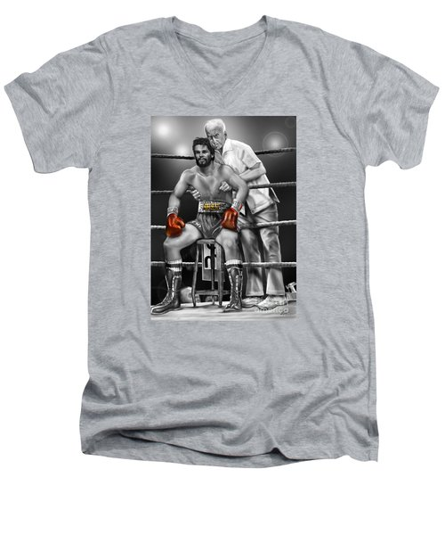 Roberto Red Gloves Of Gray  Men's V-Neck T-Shirt