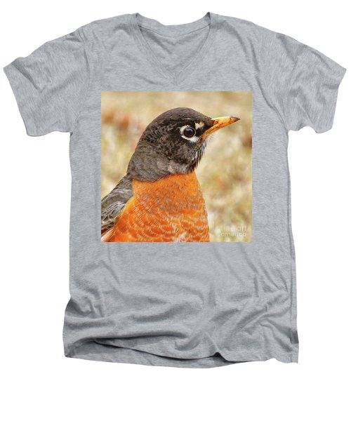 Men's V-Neck T-Shirt featuring the photograph Robin by Debbie Stahre