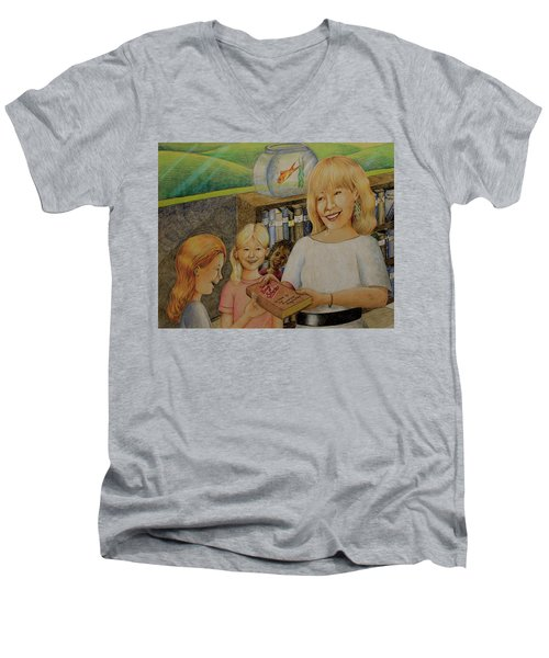Robin Gives The Book Of Stories To The Children Men's V-Neck T-Shirt