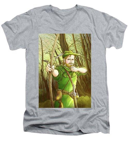 Robin  Hood In Sherwood Forest Men's V-Neck T-Shirt by Reynold Jay