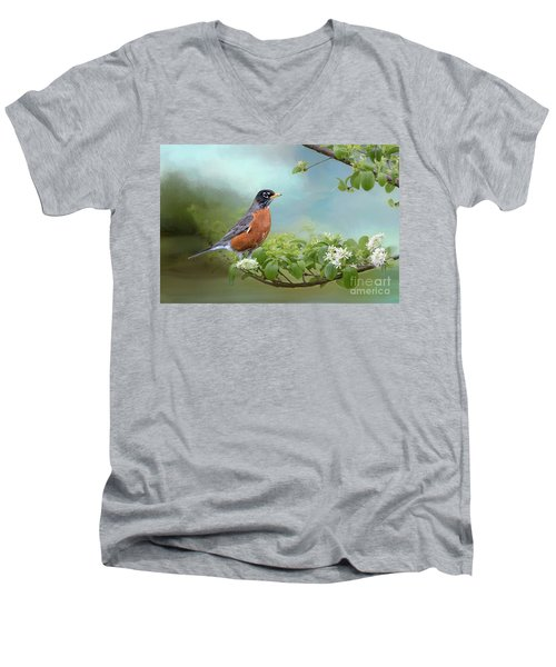 Men's V-Neck T-Shirt featuring the photograph Robin In Chinese Fringe Tree by Bonnie Barry