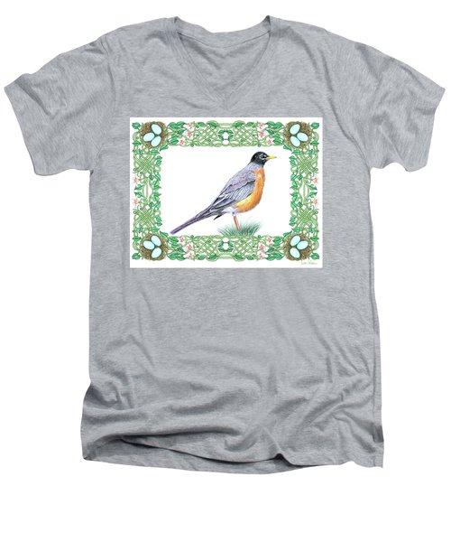 Robin In Spring Men's V-Neck T-Shirt by Lise Winne