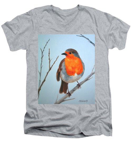 Robin In The Tree Men's V-Neck T-Shirt by Marna Edwards Flavell