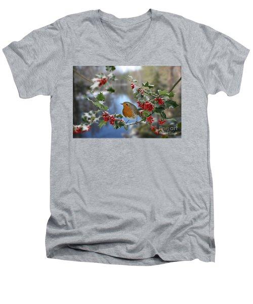 Robin On Holly Branch Men's V-Neck T-Shirt