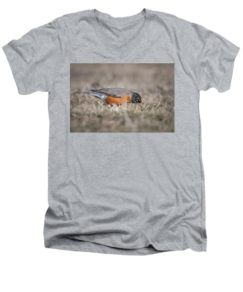Men's V-Neck T-Shirt featuring the photograph Robin Pulling Worm by Tyson Smith