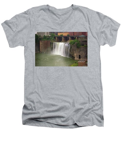 Men's V-Neck T-Shirt featuring the photograph Rochester, New York - High Falls by Frank Romeo
