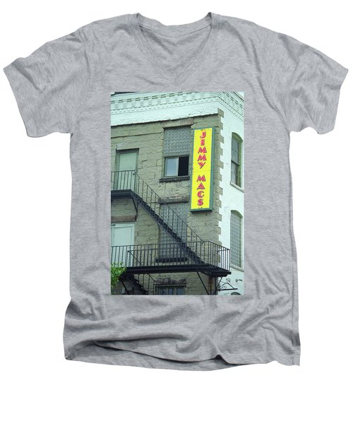 Men's V-Neck T-Shirt featuring the photograph Rochester, New York - Jimmy Mac's Bar 2 by Frank Romeo