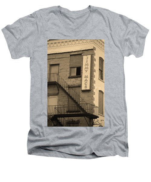 Men's V-Neck T-Shirt featuring the photograph Rochester, New York - Jimmy Mac's Bar 2 Sepia by Frank Romeo