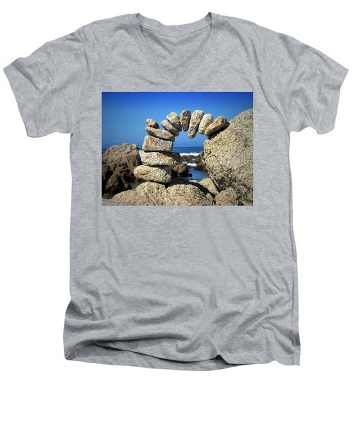 Rock Art One Men's V-Neck T-Shirt by Joyce Dickens