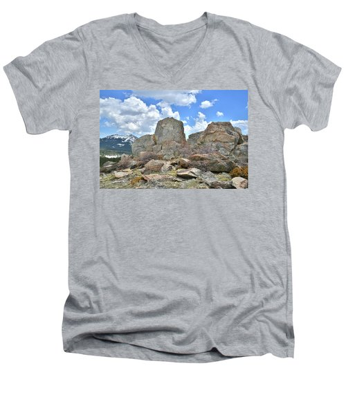 Rock Cropping At Big Horn Pass Men's V-Neck T-Shirt