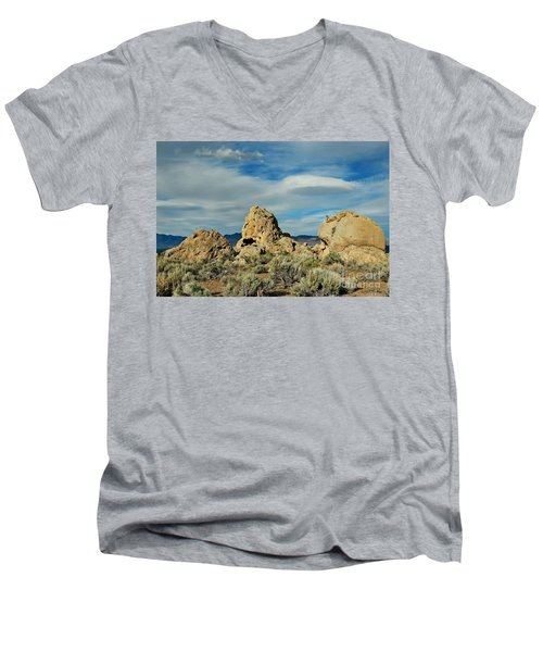 Men's V-Neck T-Shirt featuring the photograph Rock Formations At Pyramid Lake by Benanne Stiens