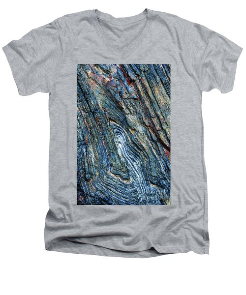 Men's V-Neck T-Shirt featuring the photograph Rock Pattern Sc03 by Werner Padarin