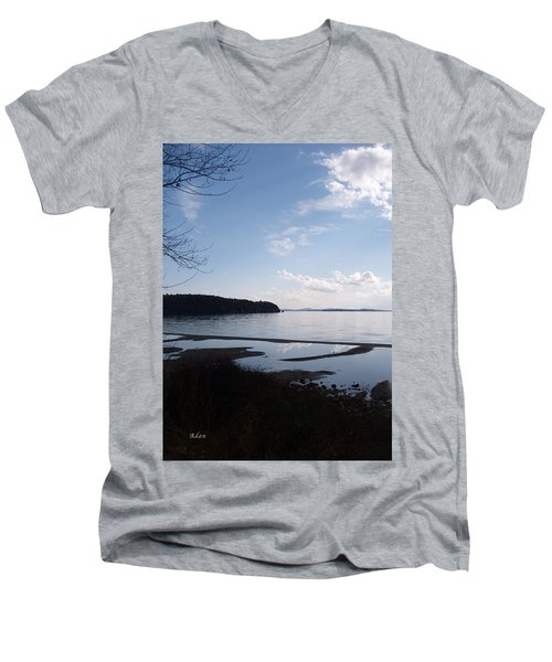 Rock Point North View Vertical Men's V-Neck T-Shirt by Felipe Adan Lerma