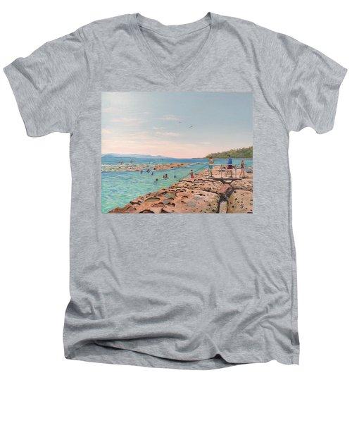 Rock Pool At Currarong Men's V-Neck T-Shirt