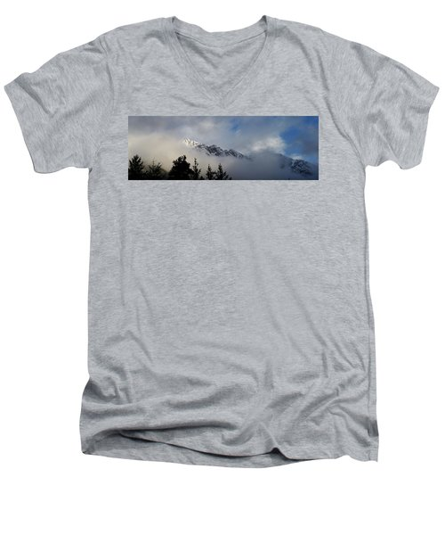 Rockies In The Clouds. Men's V-Neck T-Shirt by Ellery Russell