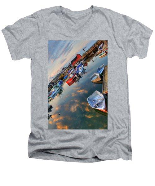 Men's V-Neck T-Shirt featuring the photograph Rockport Harbor Motif #1  by Joann Vitali