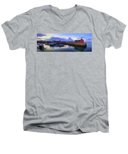 Men's V-Neck T-Shirt featuring the photograph Rockport Harbor Sunset Panoramic With Motif No1 by Joann Vitali