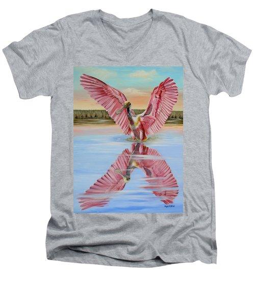 Rockport Roseate Spoonbill Men's V-Neck T-Shirt