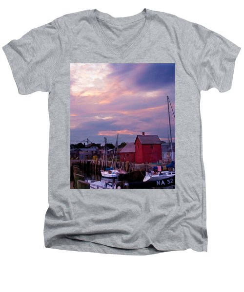 Men's V-Neck T-Shirt featuring the photograph Rockport Sunset Over Motif #1 by Jeff Folger