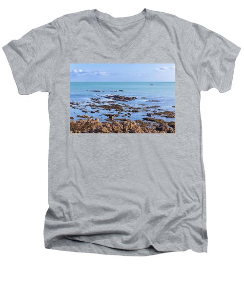 Men's V-Neck T-Shirt featuring the photograph Rocks And Seaweed And Seagulls In The Irish Sea At Howth by Semmick Photo