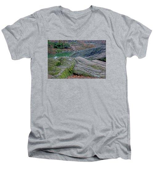 Rocks At Central Park Men's V-Neck T-Shirt by Sandy Moulder
