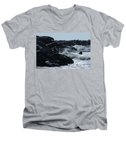 Rocks On The Jetti At Cocoa Beach Men's V-Neck T-Shirt
