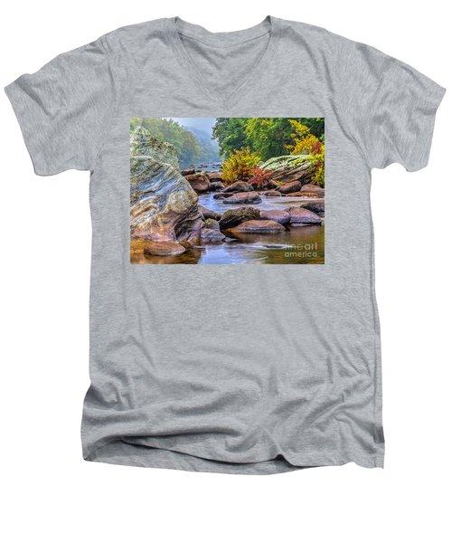 Rockscape Men's V-Neck T-Shirt by Tom Cameron