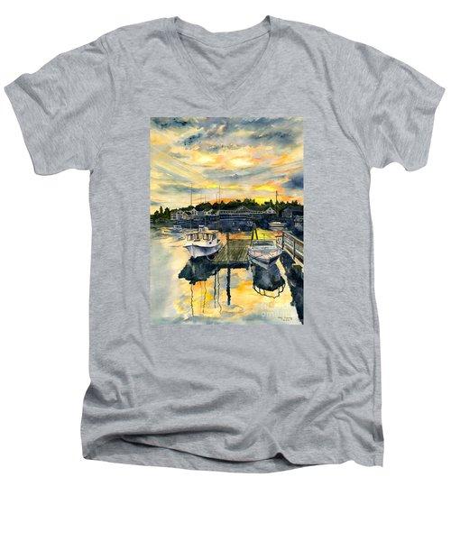Rocktide Sunset Men's V-Neck T-Shirt by Melly Terpening