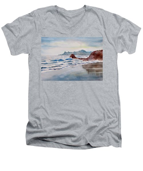 Men's V-Neck T-Shirt featuring the painting Rocky Beach by Geni Gorani