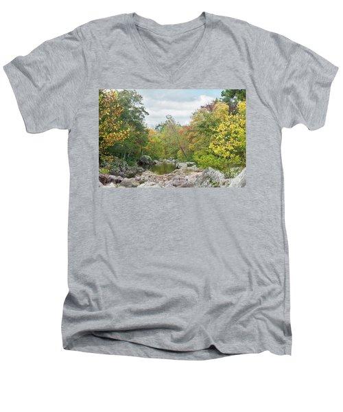 Rocky Creek Shut-ins Men's V-Neck T-Shirt by Julie Clements