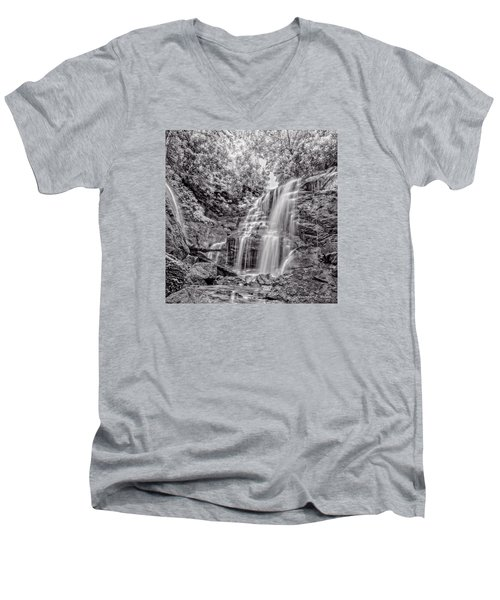 Men's V-Neck T-Shirt featuring the photograph Rocky Falls - Bw by Christopher Holmes