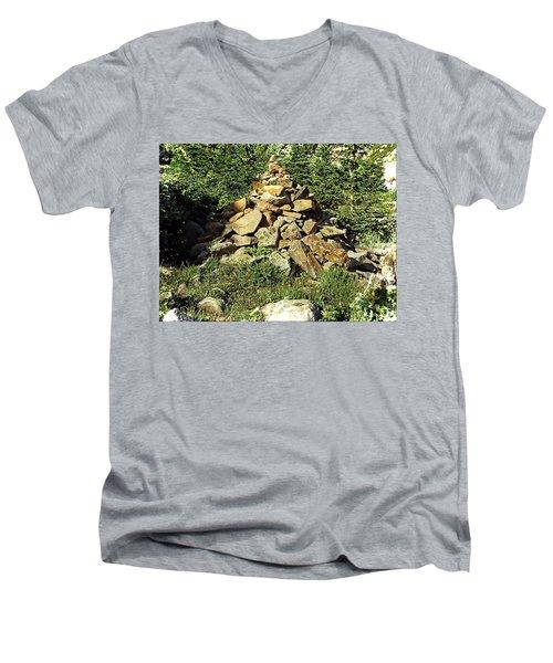 Rocky Mountain Cairn Men's V-Neck T-Shirt by Joseph Hendrix