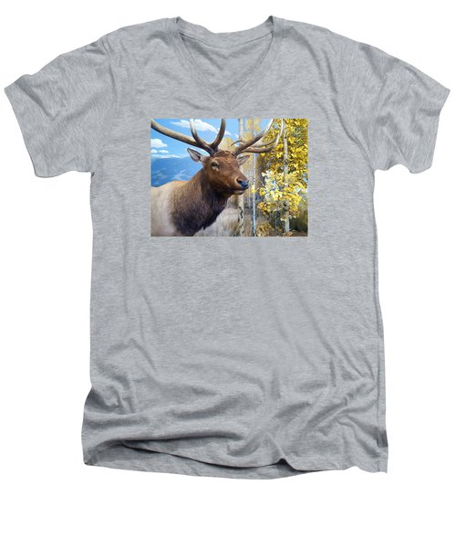 Rocky Mountain Elk Men's V-Neck T-Shirt by Karon Melillo DeVega